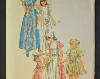 Girls' Dress in Two Lengths and Scarf Size 6 Uncut Vintage 1970s Sewing Pattern-Simplicity 6242