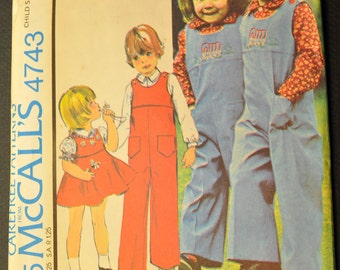 Children's Jumpsuit, Jumper, and Shirt with Yellow Transfer Size 5 Uncut Vintage 1970s Sewing Pattern-McCall's 4743