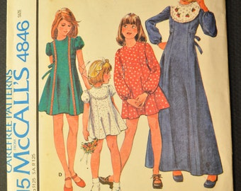 Girls' Dress Size 10 Uncut Vintage 1970s Sewing Pattern-McCalls 4846