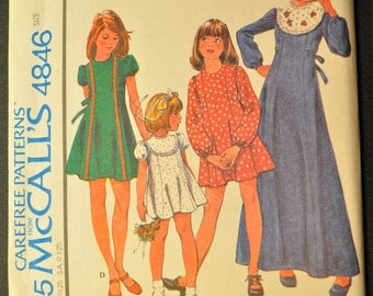 Girls' Dress Size 12 Uncut Vintage 1970s Sewing Pattern-McCalls 4846