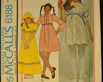 Girls' Dress and Hat Size 4 Uncut Vintage 1970s Sewing Pattern-McCall's 6188
