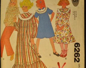 Girls' Dress or Top Size 7 Vintage 1970s Sewing Pattern McCall's 6262