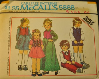 Toddlers' and Girl's Dress or Shirt, Jumpsuit and Vest Size 1 Uncut Vintage 1970s Sewing Pattern- McCall's 5868