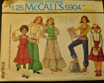 Girl's Blouse, Top and Skirt Size 7 Vintage 1970s Sewing Pattern- McCall's 5904