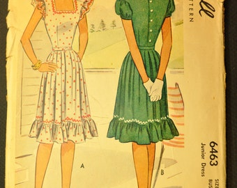 Misses' Dress Vintage 1940s Sewing Pattern-McCall's 6463 Bust 29