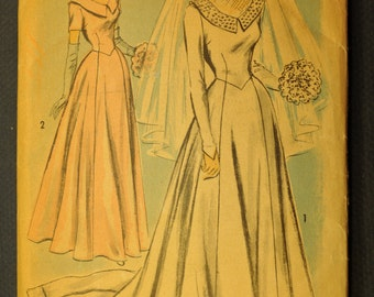 Wedding Gown or Bridesmaid Dress Vintage 1940s Sewing Pattern-Advance 5341 Bust: 32