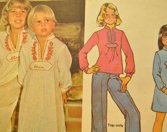 Girls' Caftan, Dress or Top Size Medium Uncut Vintage 1970s Sewing Pattern-McCall's 5286