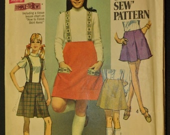Misses' Set of Skirts and Suspenders Size 12 Vintage 1960s Sewing Pattern-Simplicity 8363