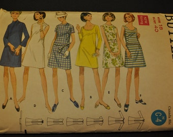 Misses' One-Piece Dress Size 18 Bust 40 Vintage 1960s Sewing Pattern-Butterick 5155