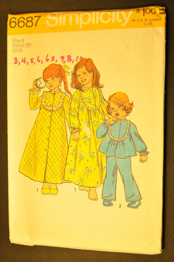 Girl's Robe, Nightgown and Pajamas Size 6 Uncut Vintage 1970s Sewing Pattern-Simplicity 6687
