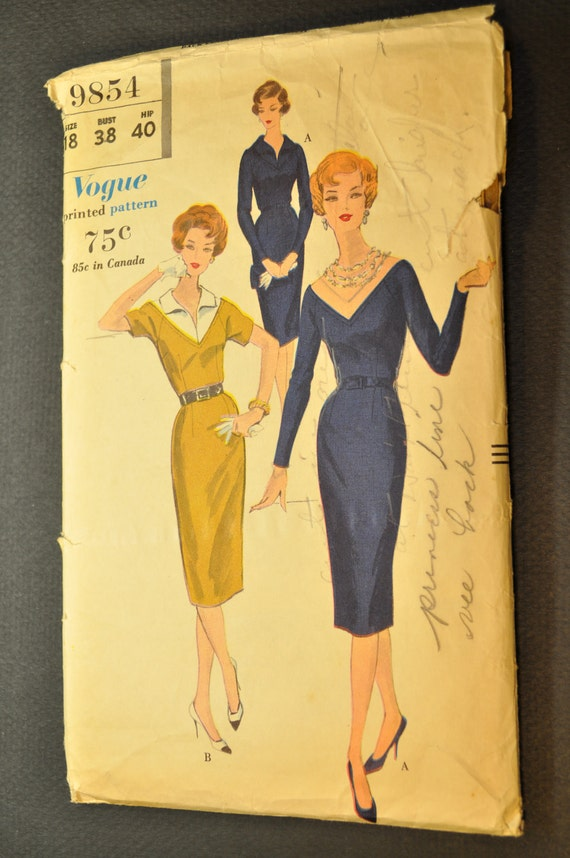 One Piece Dress with Detachable Yoke Size 18 Bust 38 Uncut Vintage 1950s Sewing Pattern-Vogue 9854