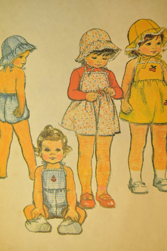 Toddler's Dress or Jumper, Romper and Hat Size 3 Vintage 1970s Sewing Pattern-McCall's 5065