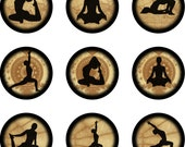 Yoga Positions Bottle Cap Digital Collage Page 1 inch circle sheet (81)