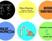 Trendy Silly Phrases Bottle Cap Images Digital Collage Sheet 1 inch circles (119) Instant Download