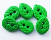 """6 x Leaf Buttons - set of 6 polymer clay buttons ( 5/8"""")"""
