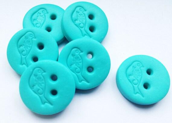 """Polymer Clay Bird Buttons - craft hanndmade buttons set of 6 ( 3/4"""")"""