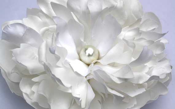 Large White Peony Hair Clip