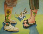 Barefooted And her Prince original oil painting if you are not kim passalacqua please do not buy this painting - reserved for Kim with 0 due