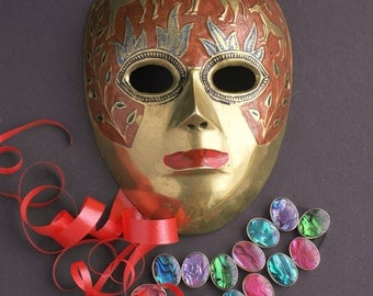 Small Brass Painted Venetian Mask Home Wall  Decor Souvenir