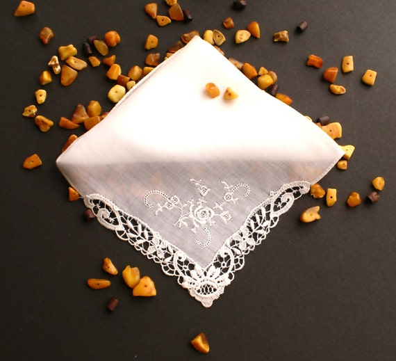 Vintage Machine Embroidered White Lace Handkerchief
