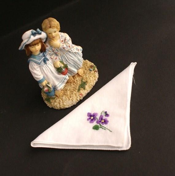 Vintage Machine Embroidered Floral Violet Viola Handkerchief