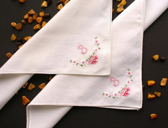 2 Vintage Machine Embroidered Handkerchiefs With Pink Initial B
