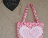 Shabby Chic Toddler Tote Bag Pink Hearts No. 2