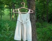 Classic Retro Inspired Girls Cool Cotton Summer Wrap Dress  Cream Ferns On Beige Shabby Chic Broach