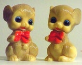 Vintage Plastic Mouse with Bows Salt & Pepper Shakers