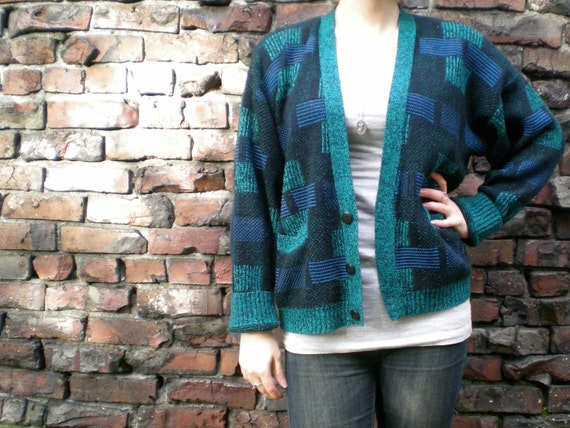 vintage 80s sweater. slouchy cardigan with green & blue color blocks. unisex size small.