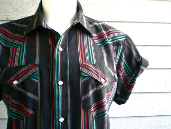 vintage 80s western shirt in black with neon rainbow stripe. size large - xl.