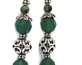 Swarovski Palace Green Crystals and Bali Sterling Dangle Earrings