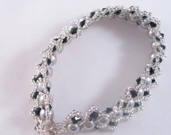 Swarovski Pearl and Crystal Bracelet-Beadweaving - Silver and Black