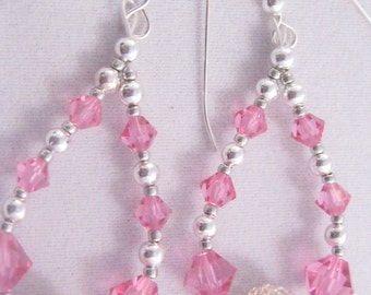 Swarovski Crystal & Sterling Silver Unique and Sparkly Hoop Earrings(Rose)