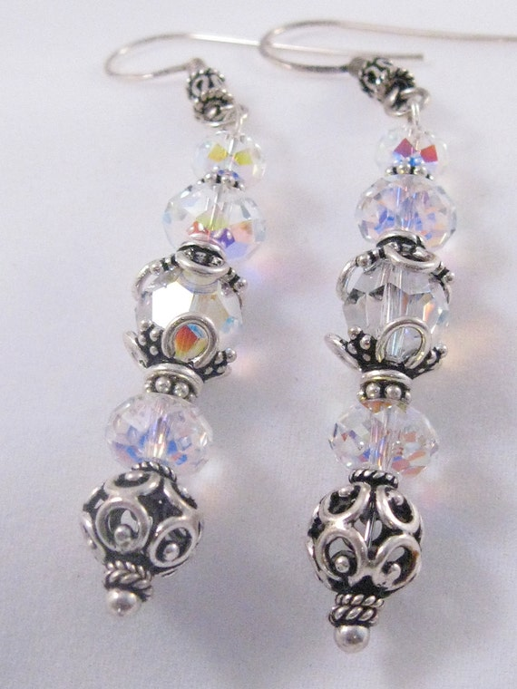 Bali Sterling Silver and Swarovski Crystal Earring Dangles