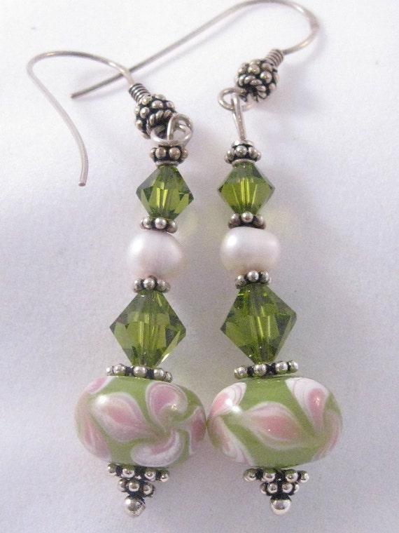 Peridot Green Swarovski Crystal & Lampwork Glass Dangle Earrings