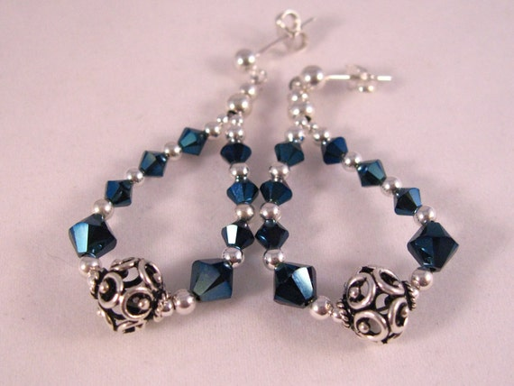 Swarovski Crystal & Sterling Unique and Sparkly Hoop Earrings on 5mm posts(Metalic Blue)
