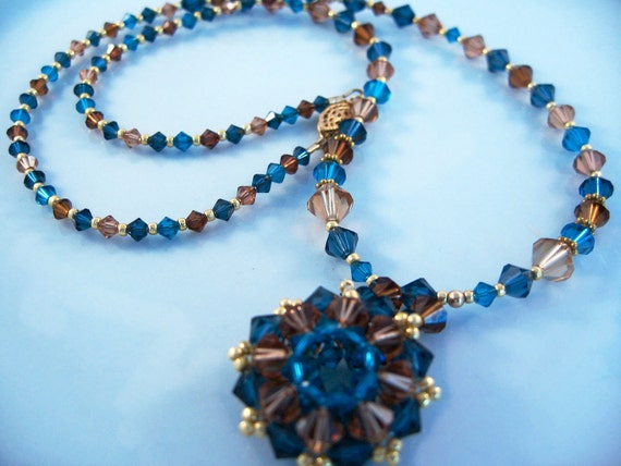 Swarovski Snowflake Pendant Necklace In Blues and Browns