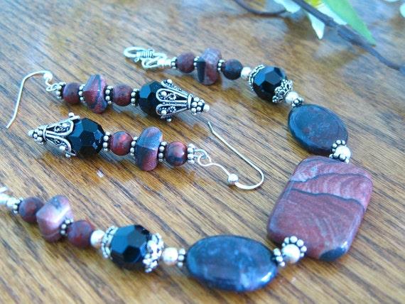 Jasper, Swarovski Crystal and Sterling Bracelet and Earring Set