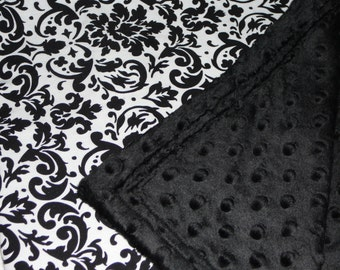 Black and White Damask Minky Baby Blanket