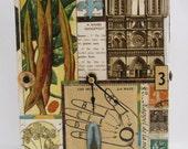 Original Mixed Media 'French' Clock, Vintage Ephemera, Recycled Cigar Box, Eiffel Tower