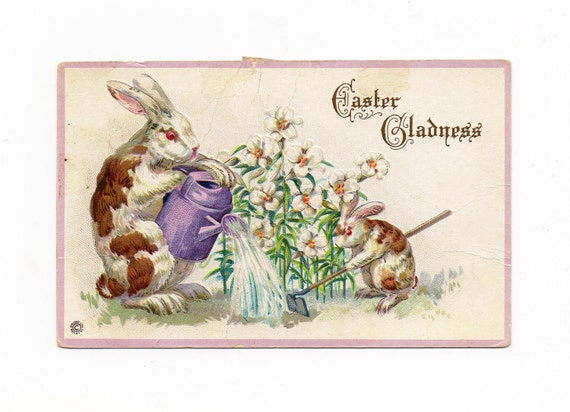 Antique Easter Bunny Post Card, Bunnies Watering their Garden