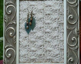 Picture Frame Jewelry Holder-Handmade Shell Crocheted