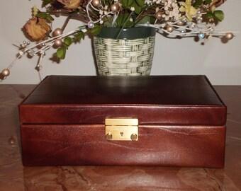 Italian Leather Jewelry Box w/ Swiss Amient Lock