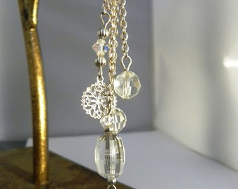 Snowflake crystal necklace - sparking drops