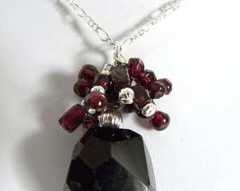 Garnet sparkle cluster necklace