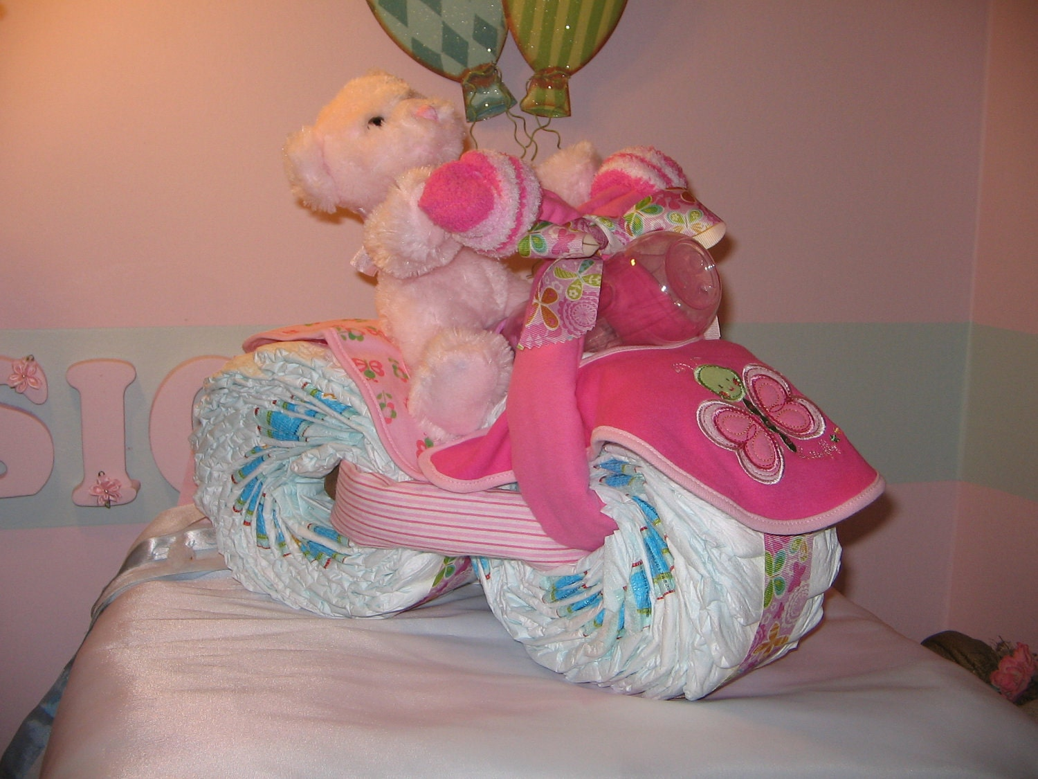 Tricycle diaper cake w bear by babycakesgbd on etsy