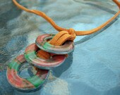 Hand-Painted Washer Necklace in Orange and Green with Orange Leather Cord