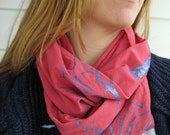 Pink Infinity Scarf with Hand Stenciled Tree Design in Turquoise