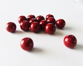 Cranberry Red Glass Pearls 14 pcs - 10 mm